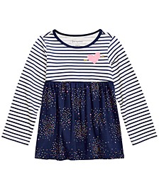 Baby Girls Cotton Long-Sleeve Striped Confetti Tunic, Created For Macy's