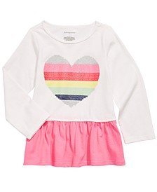 Baby Girls Cotton Rainbow Heart Peplum T-Shirt, Created For Macy's