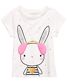 Baby Girls Bunny-Print T-Shirt With Faux-Sherpa Trim, Created for Macy's