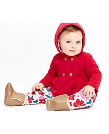Baby Girls 3-Pc. Fleece Hoodie, Dot-Print Bodysuit & Floral-Print Pants Set