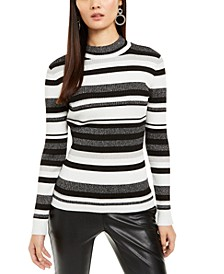 INC Striped Mock-Neck Sweater, Created For Macy's