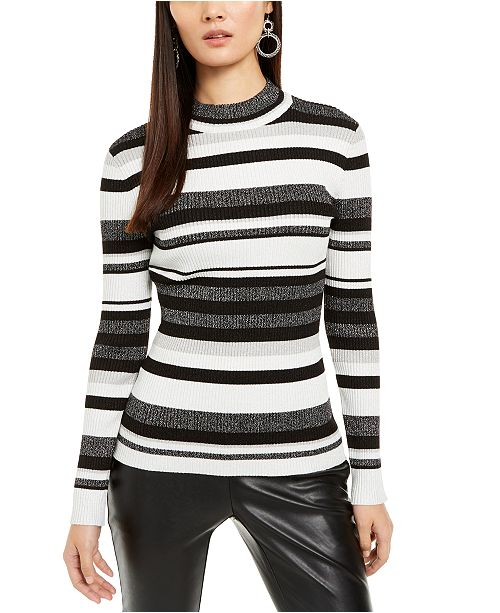 INC International Concepts INC Striped Mock-Neck Sweater, Created For Macy's