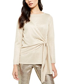 Tie-Waist Shimmer Sweater, Created For Macy's