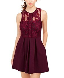 Juniors' Lace & Scuba Fit & Flare Dress