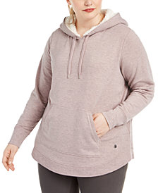 Ideology Plus Size Faux-Sherpa-Trimmed Hooded Sweatshirt, Created For Macy's