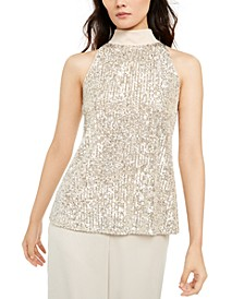 Mock-Neck Sequined Blouse, Created For Macy's