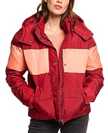 Juniors' Out Of Focus Colorblocked Hooded Puffer Jacket