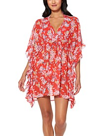 Chantilly Lace Printed Ruffled Caftan Swim Cover-Up
