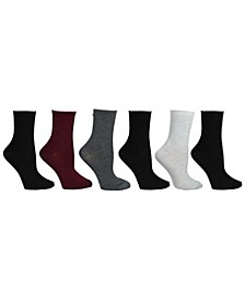 Women's 6 Pack Texture & Solid Crew Socks, Online Only