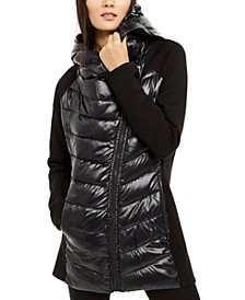 Asymmetrical Mixed-Media Puffer Jacket