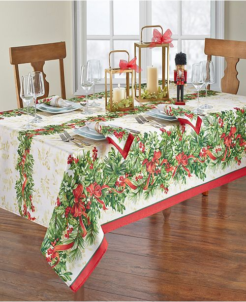 "Elrene Holly Traditions Holiday Tablecloth - 52"" x 70"""