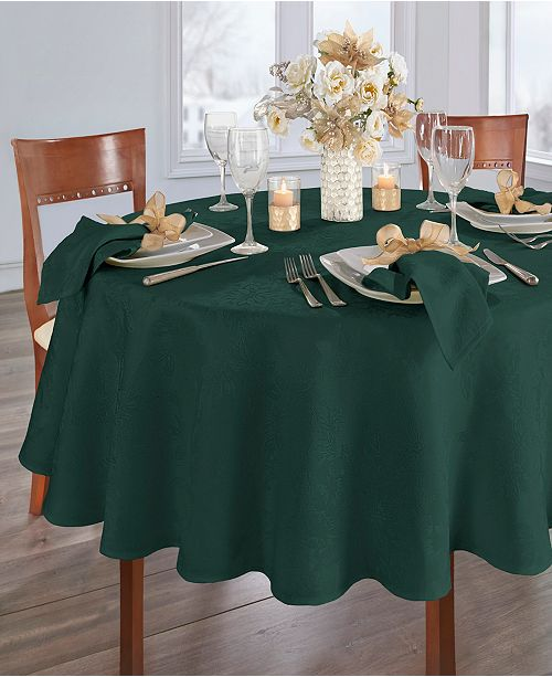 Elrene Poinsettia Elegance Jacquard Holiday Tablecloth - 90""