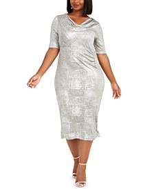 Plus Size Cowlneck Metallic Midi Dress