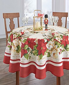 Red and White Poinsettias Tablecloth - 70""