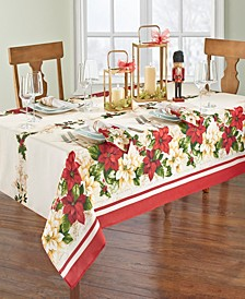 """Red and White Poinsettias Tablecloth - 60"""" x 84"""" Oval"""