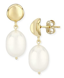 Dapped Disk Pearl(10 x 8mm)  Drop Earrings Set in 14k Yellow Gold