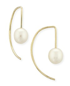 Pearl (6 mm)  Drop Threader Earrings Set in 14k Gold