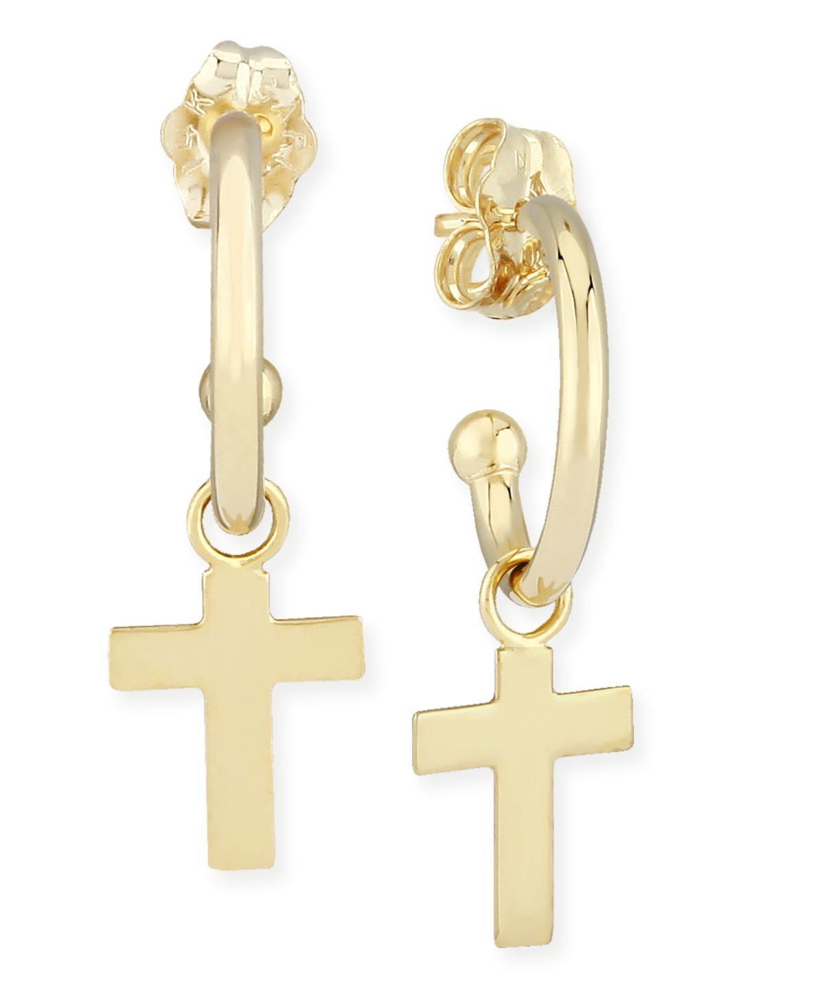 Dangle Cross Hoop Earrings in 14k Gold