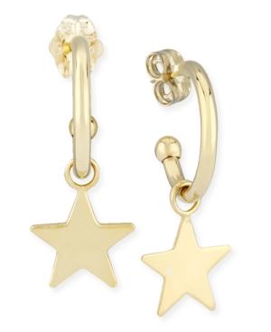 Dangle Star Hoop Earrings in 14k Yellow Gold