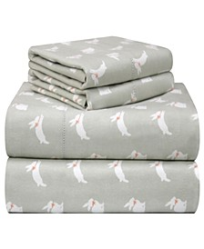 Printed Flannel Cal King Sheet Set