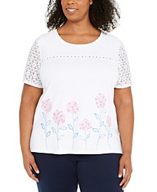 Plus Size Embroidered Beaded Lace-Sleeve Top