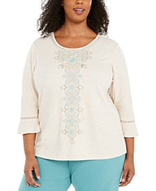 Plus Size Cottage Charm Embroidered Top