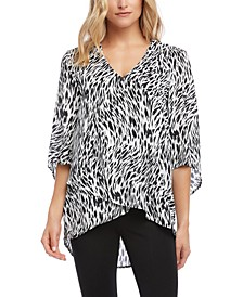 Printed Crossover-Hem Top