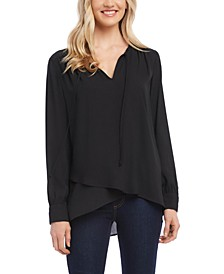 Crossover-Hem Tie-Neck Blouse