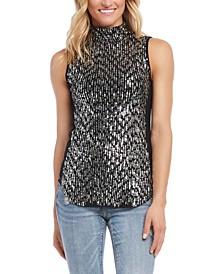 Sequined Sleeveless Turtleneck Top