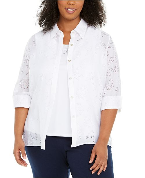 Alfred Dunner Plus Size Miami Beach T-Shirt and Overlay Top