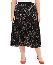 Plus Size Printed Pleated Midi Skirt, Created For Macy's