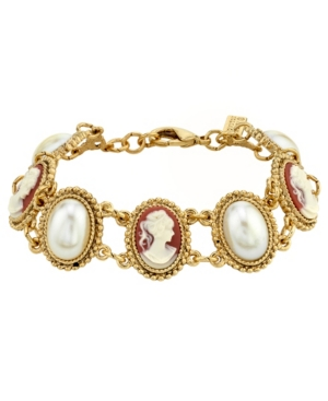 14K Gold-Dipped Carnelian Cameo and Imitation Pearl Bracelet