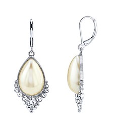 Crystal and Imitation Pearl Teardrop Earrings
