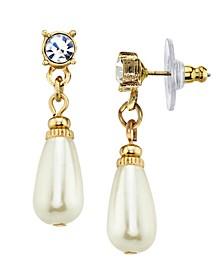 Simulated Imitation Pearl Crystal Teardrop Earring