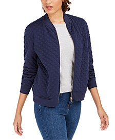 Textured Knit Bomber Jacket, Created For Macy's