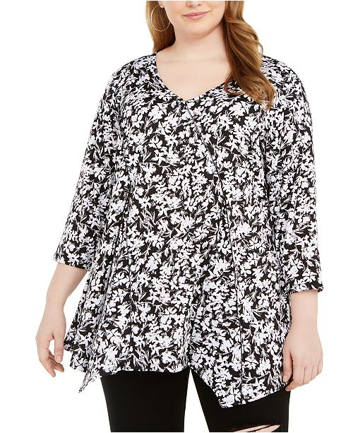 NY Collection Plus Size Printed Pointed-Hem Top