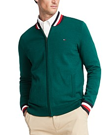 Men's Basic Color Tipped Full-Zip Sweater