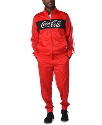 Men's Coca-Cola Pieced Colorblocked Logo Tape Track Jacket