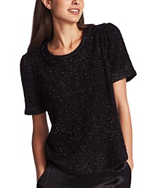 Metallic Short-Sleeve Eyelash Top