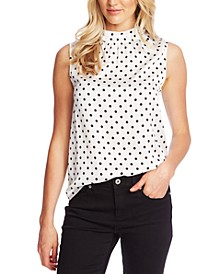 Sleeveless Mock-Neck Polka-Dot Top