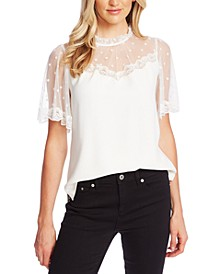 Lace-Trim Sheer-Contrast Top