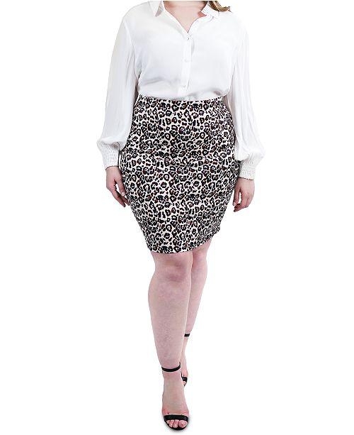 Maree Pour Toi Plus Size Animal Print Skirt