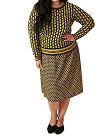 Plus Size Jacquard Print Sweater