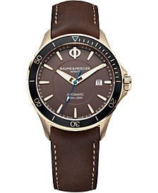 Men's Swiss Automatic Clifton Club Brown Nubuck Calfskin Leather Strap Watch 42mm