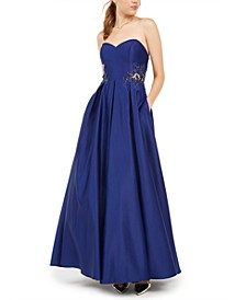 Juniors' Strapless Sweetheart Appliqué Gown