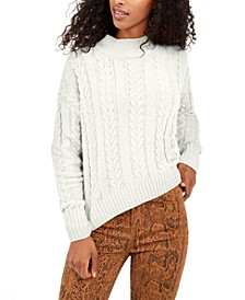 Juniors' Cable-Knit Drop-Shoulder Sweater