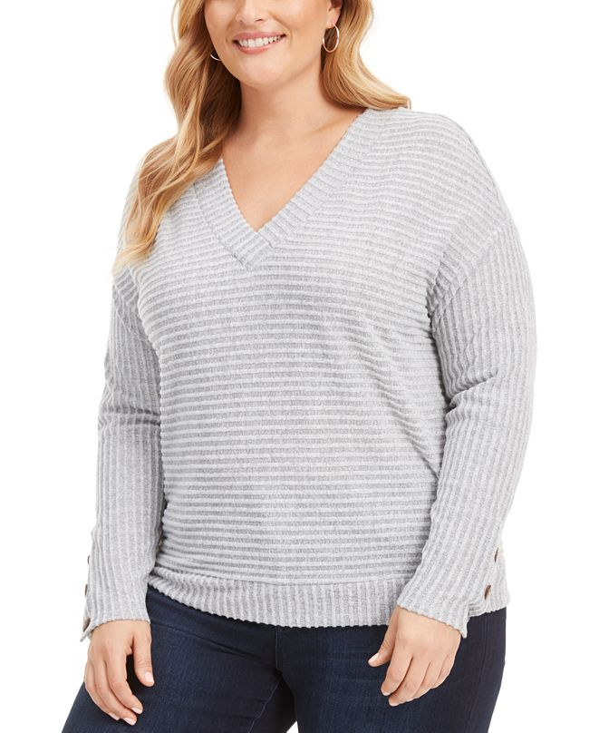 Belldini Plus Size Button-Sleeve Ribbed Top