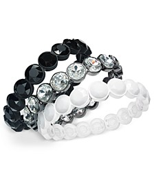 INC Tri-Tone 3-Pc. Set Crystal & Stone Stretch Bracelets, Created For Macy's