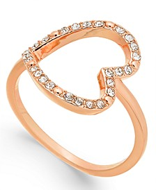 INC Rose Gold-Tone Pavé Crystal Open Heart Ring