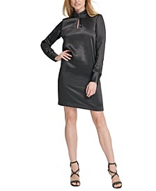 Hammered Satin Mock-Neck Dress